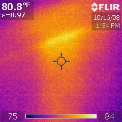 Infrared Thermal Analysis: Water pipe pierced by nail in wall